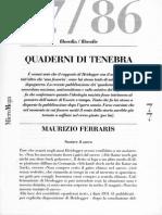 Maurizio Ferraris - Quaderni Di Tenebra - Micromega (n.4 - Giugno 2014)