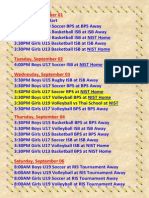 Next Week Games Schedule