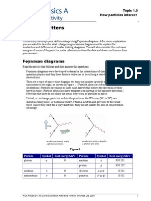 1.5 Feynman Diagrams Worksheet | Elementary Particle | Neutrino