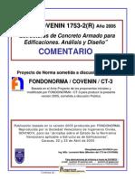 Covenin 1753-2-2005 Estructuras de Concreto Armado en Edificaciones, Comentarios