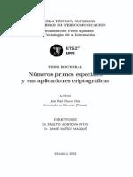 Numeros Primos Especiales y Sus Aplicaciones Criptograficas