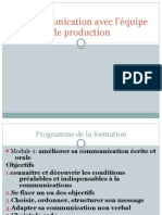 La communication avec l'equipe de production