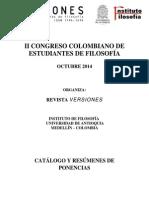 Catálogo de ponencias II Congreso Colombiano de Estudiantes de Filosofía