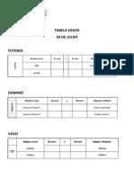 Tabela Jogos 30 Agosto