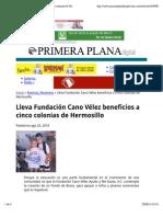 25-08-14 Lleva Fundación Cano Vélez beneficios a cinco colonias de Hermosillo