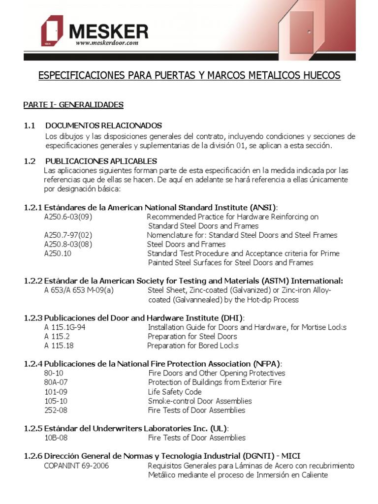 Mesker Especificaciones de Puertasmarcos Acero Hueco