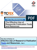 Effective Use of Research & Publication Tools and Resources – Part 1