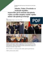 Sastanak u Minsku Putin i Porošenko Se Rukovali Istaknuli Stajališta Neposredno Pred Sastanak Ukrajinska Vojska Zarobila Skupinu Ruskih Vojnika Unutar Ukrajinskog Teritorija