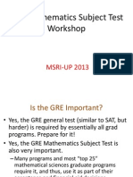 Mathematics GRE Workshop 2013