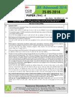 Resonance IIT JEE Advanced 2014 Solution Paper 1 Code 8