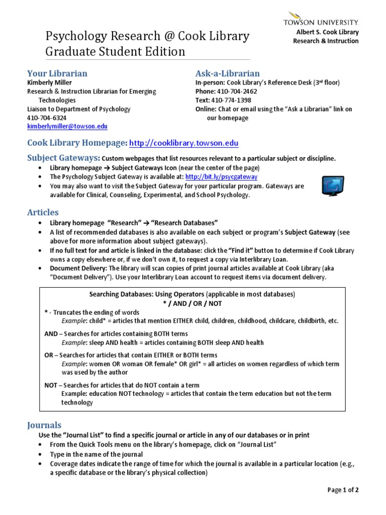 Psychology Research @ Cook Library: Graduate Student Edition