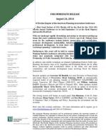 2014 APA Conference Press Release (1)