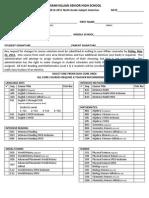Subject Selection Sheet for Grade 09