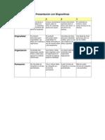 rbrica de presentacion con diapositivas