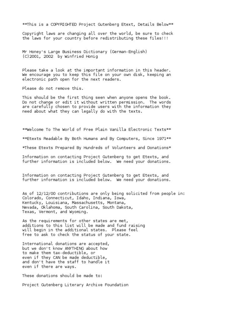 Mr Honeys Large Business Dictionarygerman English By Honig