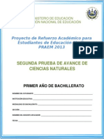 Segunda Prueba de Avance Ciencias Naturales Primer Ao de Bachillerato Praem 2013