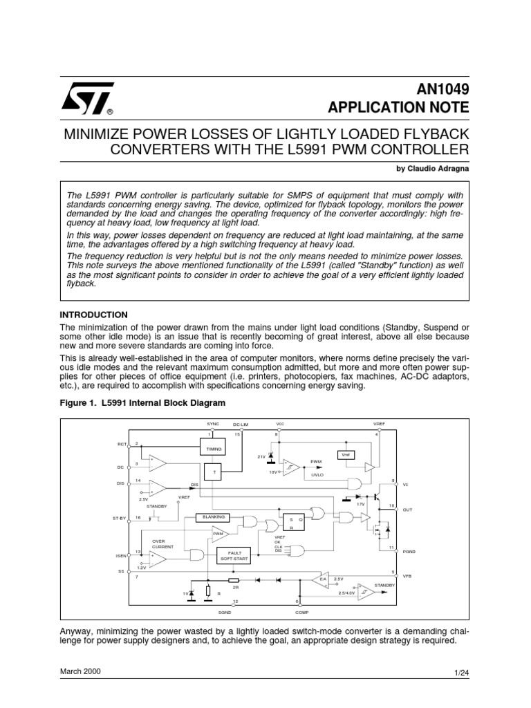 An1049 Application Note Mosfet Transformer Switched Mode Power Supply Block Diagram