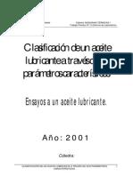 Clasificación (ENSAYOS) Aceite Lubricante
