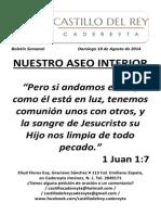 Boletín Semanal Domingo 10 de Agosto de 2014