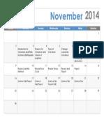 november calendar outline