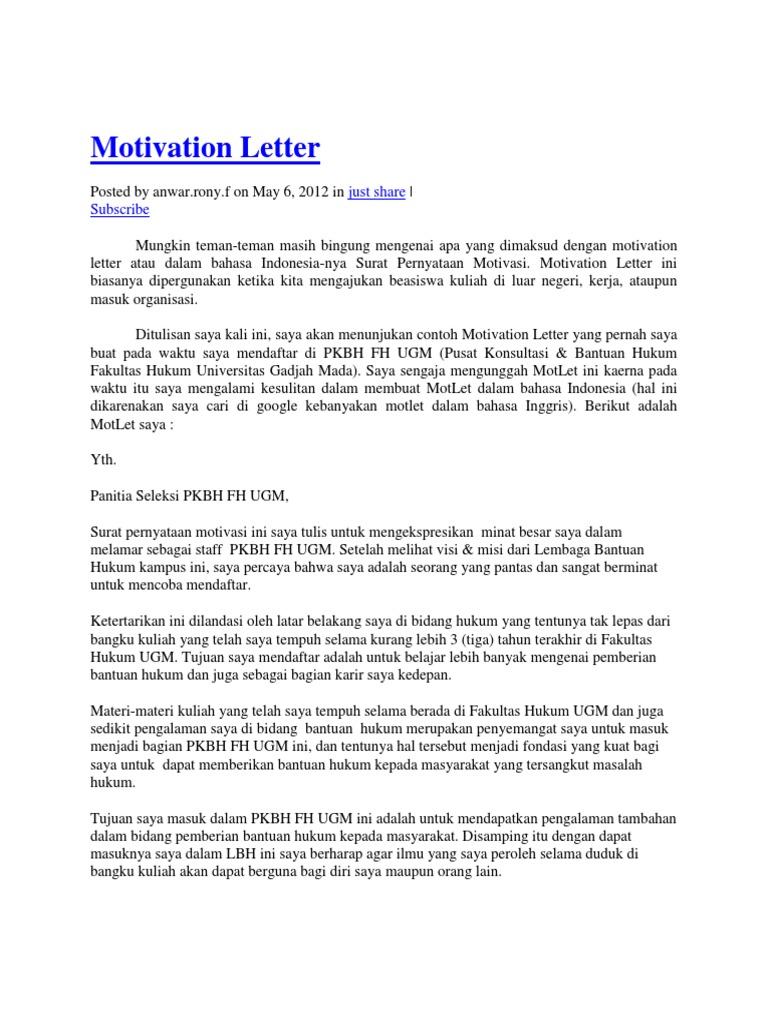 contoh application letter magang bahasa inggris