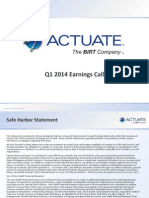 Actuate Q1 2014 Earnings Presentation Final - No Notes