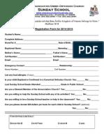 Sunday School Registration Form 2014-15