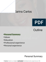 Sample of Personal presentation- Karina Carlos