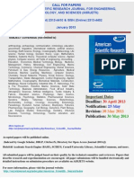 Call for Papers 2013- American Scientific Research Journal for Engineering, Technology, And Sciences (Asrjets)