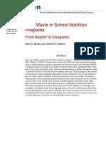 Plate Waste in School Nutrition Program