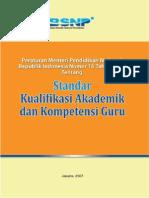 Permen No. 16 Tent Standar Kualifikasi Akademik dan Kompetensi Guru.pdf