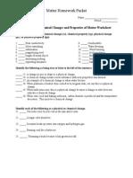 Matter Homework Packet