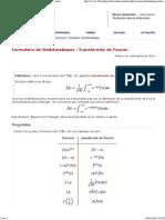 Formulaire de Mathématiques _ Transformée de Fourier