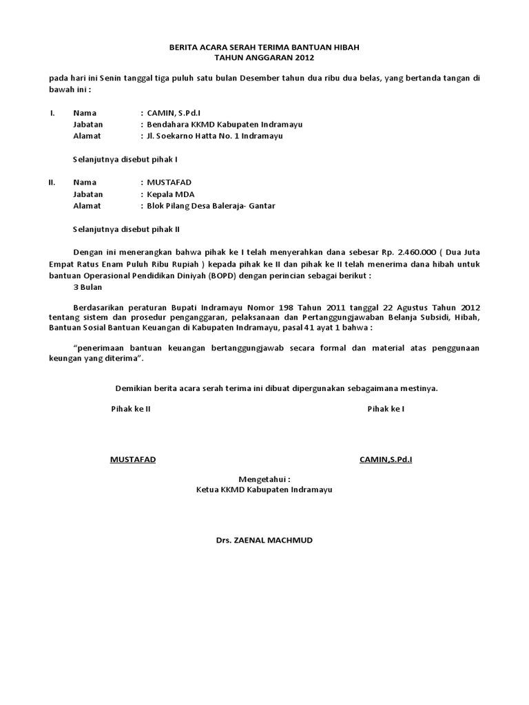 Contoh Surat Pernyataan Serah Terima Barang Simak Gambar