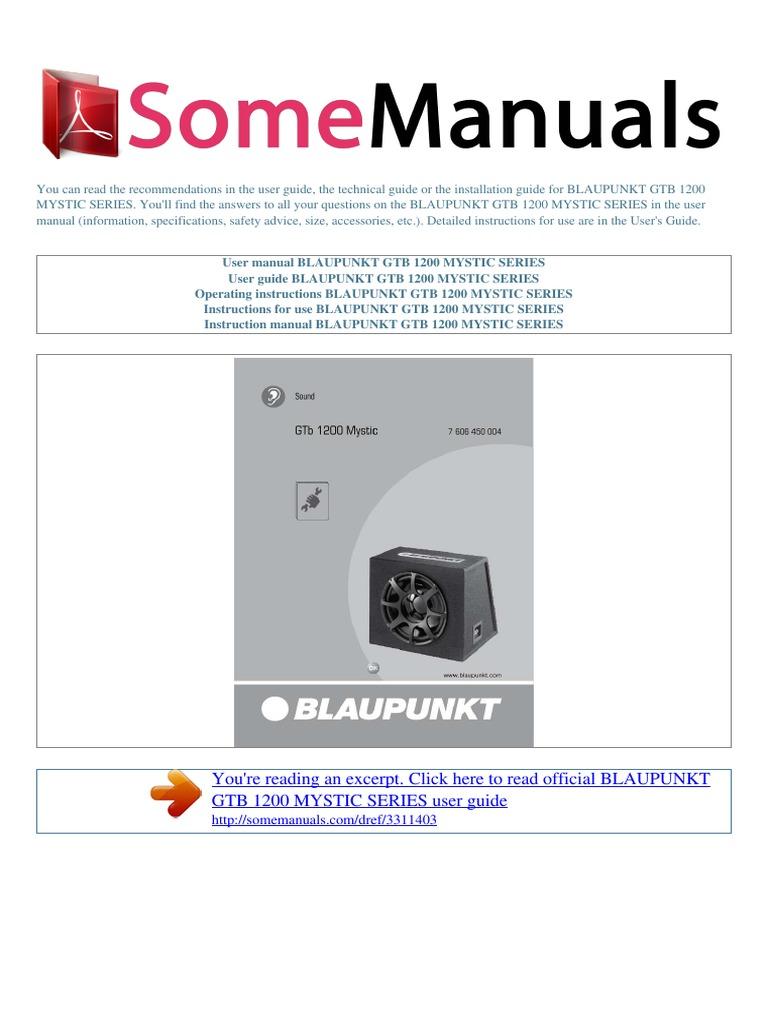 user manual blaupunkt gtb 1200 mystic series e sound production rh scribd com blaupunkt 32 tv user guide blaupunkt daytona mp26 user guide