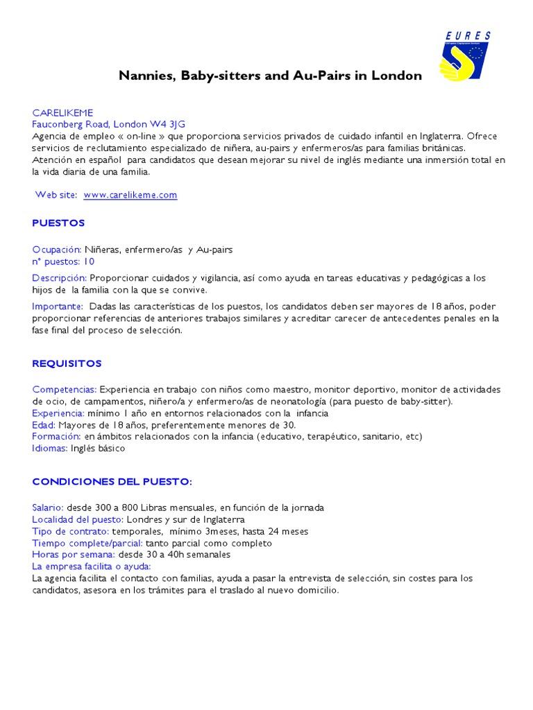 Bonito Reanudar Trabajo De Niñera Patrón - Colección De Plantillas ...