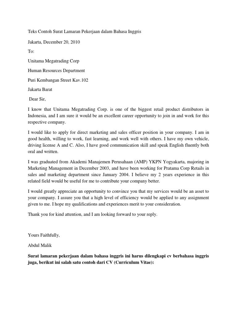Teks Contoh Surat Lamaran Pekerjaan Dalam Bahasa Inggris Sales