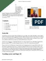 Anand Kumar - Wikipedia, The Free Encyclopedia