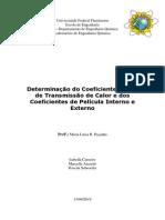 Relatório - Determinação Do Coeficiente Global de Transmissão de Calor e Dos Coeficientes de Película Interno e Externo