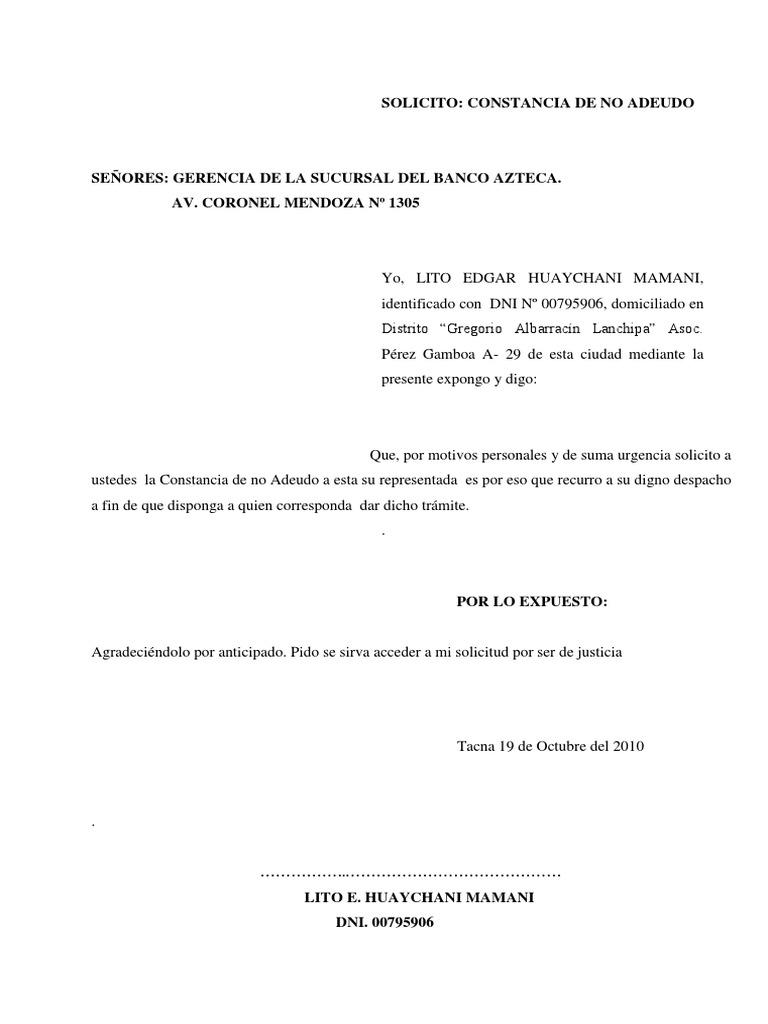 Solicito contancia de no adeudo for Solicitud de chequera