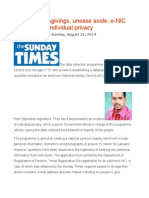 Concerns, Misgivings, Unease Aside, E-NIC Set to Invade Individual Privacy