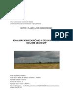 Evaluación Económica de Un Parque Eólico de 20 MW