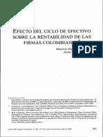 Efecto Del Ciclo de Efectivo Sobre La Rentabilidad de Las Firmas Colombianas