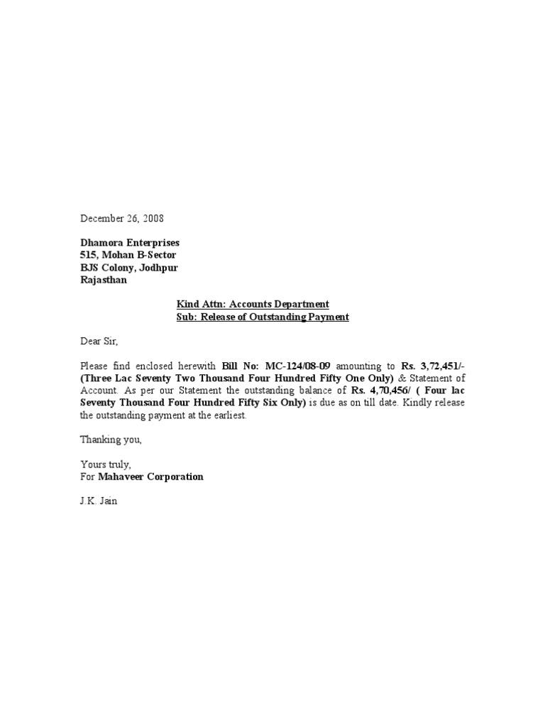 Payment Release Letter Dhamora Enterprises
