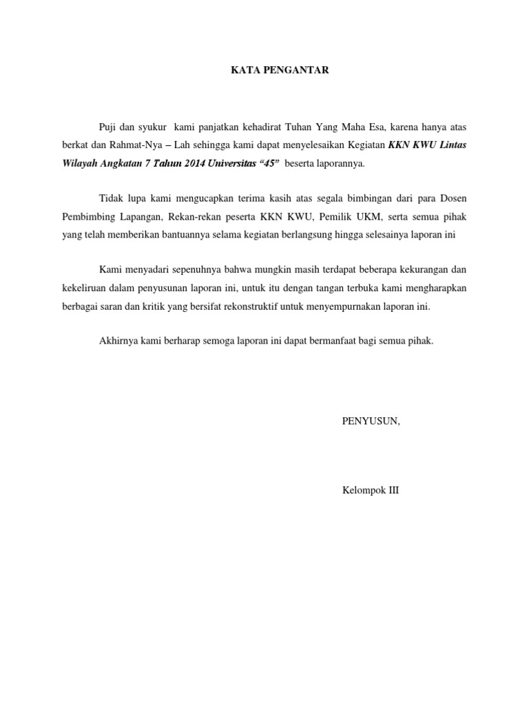 Kata Pengantar Ukm Bali Cah Ayu