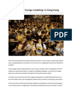 China Rebukes 'Foreign Meddling' in Hong Kong