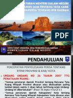 Peraturan Menteri Dalam Negeri Nomor 28 tahun 2008 tentang Tata Cara Evaluasi Raperda tentang RTR Daerah
