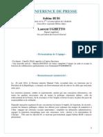 Dossier de Presse - Conférence de Presse Du 4 Septembre 2014