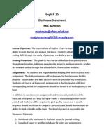english 10 disclosure statement