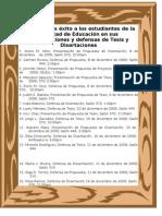 Presentaciones de Tesis, Proyectos y Disertacio0nes